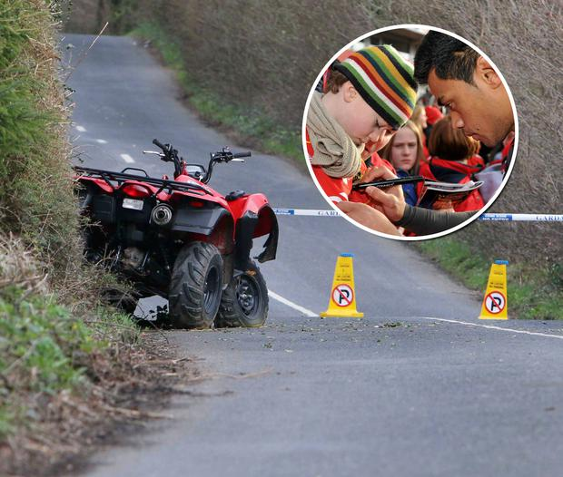 The crashed quad bike near the scene of the accident in Whitegate, Co Clare. Inset: Ultan Hayes meets sporting hero Lifeimi Mafi in 2011. Press 22 / Sportsfile