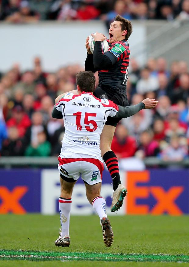 Jared Payne of Ulster challenges Alex Goode in the incident that led to his sending off