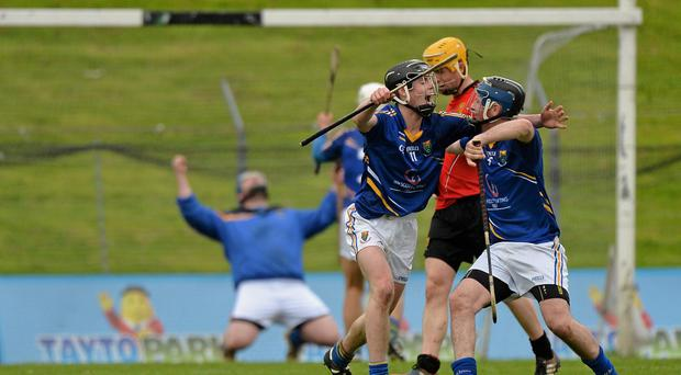 Wicklow players Jonathan O'Neill, left, Mikey Lee, 11, and Gary Byrne celebrate at the final whistle