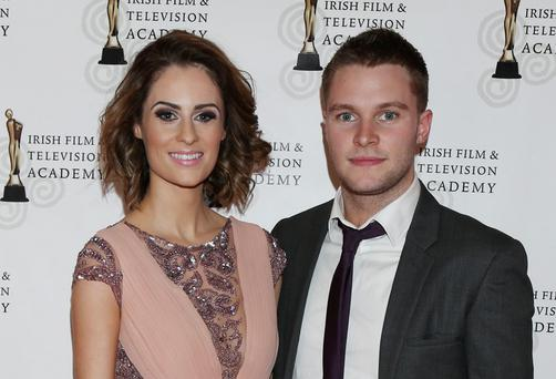 Madeline Mulqueen and Jack Reynor arriving on the red carpet for the IFTA Awards 2014. Picture: Kyran O'Brien