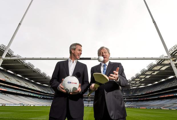 Director General of the GAA Páraic Duffy, right, and JD Buckley, Managing Director, Sky Ireland at Croke Park