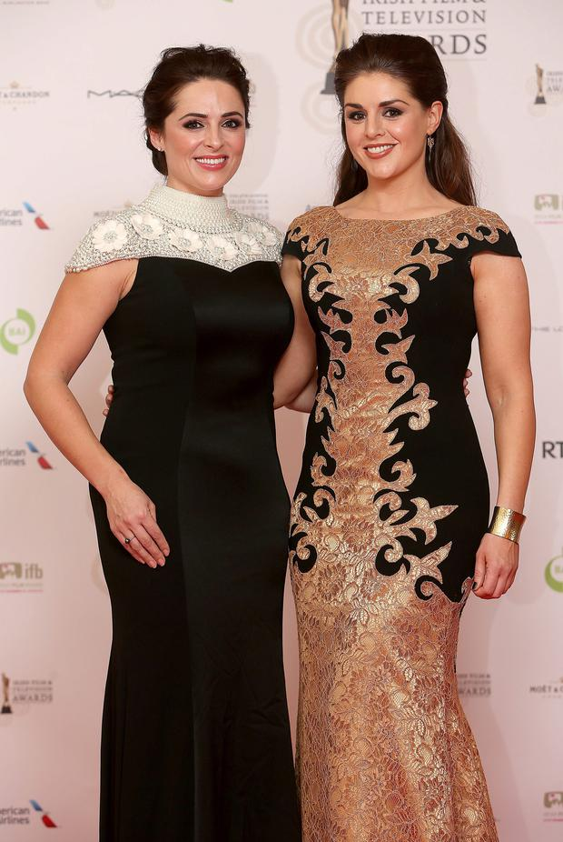 Grainne and Sile Seoige pictured at the IFTAs. They are both wearing a designs from Kerryman Don O'Neill . Picture: Gerry Mooney