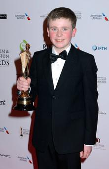 The Irish Film & Television Academy awards 2014 (IFTA) at DoubleTree by Hilton Dublin Hotel, Dublin, Ireland - 05.04.14. Pictures: G. McDonnell / Cathal Burke / VIPIRELAND.COM *** Local Caption *** David Rawl (Best Entertainment, Moone Boy)