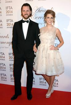The Irish Film & Television Academy awards 2014 (IFTA) at DoubleTree by Hilton Dublin Hotel, Dublin, Ireland - 05.04.14. Pictures: G. McDonnell / Cathal Burke / VIPIRELAND.COM *** Local Caption *** Amy Huberman & brother Paul Huberman
