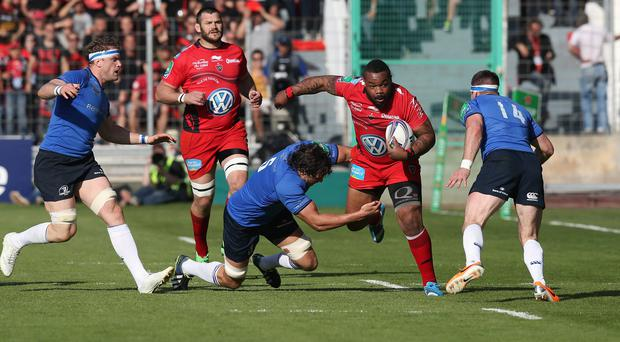 Mathieu Bastareaud of Toulon charges upfield during the Heineken Cup quarter final last year