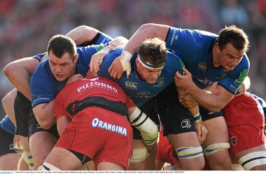 Leinster players, from left, Cian Healy, Jamie Heaslip and Rhys Ruddock during a maul in last year's encounter