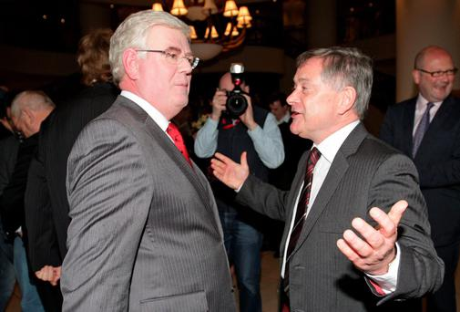 Tanaiste Eamon Gilmore pictured with Brendan Howlin , Minister for Public Expenditure. Picture: Frank Mc Grath