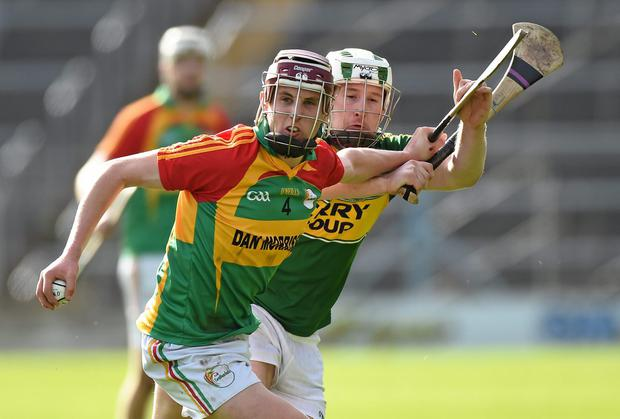 Alan Corcoran, Carlow, in action against Padraig Boyle, Kerry