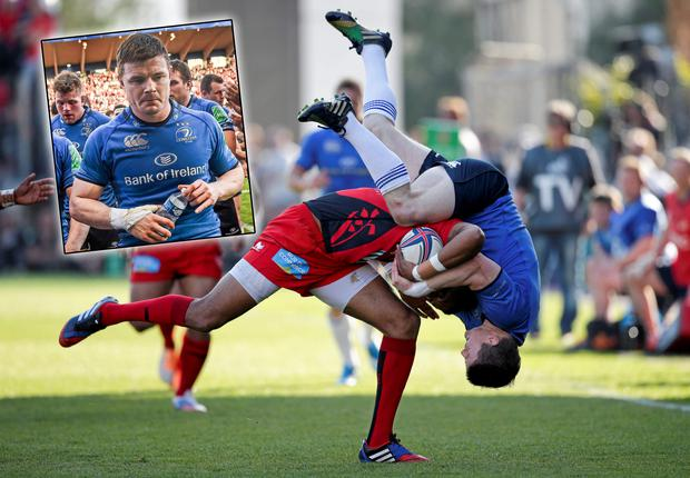 Delon Armitage of Toulon is tackled by Leinster's Brian O'Driscoll during the Heineken Cup Quarter-Final. Inset: O'Driscoll walks off dejected. Picture credit: Roberto Bregani / SPORTSFILE