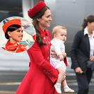 Kate Middleton touching down in New Zealand (Inset: An air hostess with Aeroflot wearing their pillbox hat as the uniform dictates)