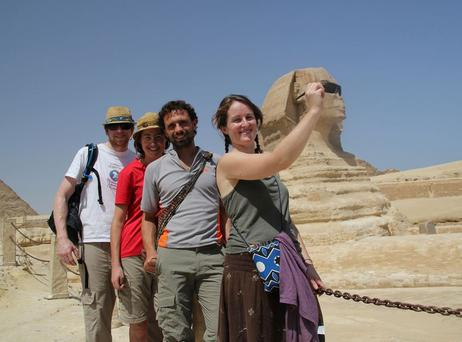 Kyle Petrie, Niamh Allen, Isidro Carrion Martin and Sive McKenna in Egypt near the start of their 12,000km journey.