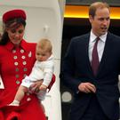 Britain's Prince William, his wife Catherine, Duchess of Cambridge and their son Prince George disembark from their plane after arriving in Wellington April 7, 2014. Photo: Reuters.