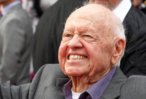 Academy Award winning actor Mickey Rooney arrives at the world premiere of the 40th anniversary restoration of the film