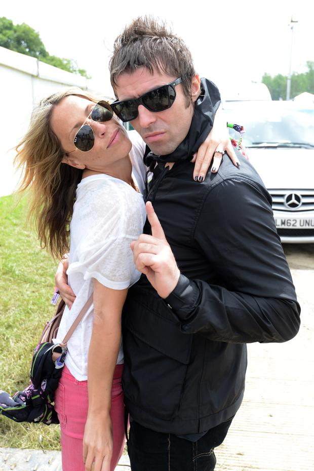 Liam Gallagher and Nicole Appleton pose backstage at day 2 of the 2013 Glastonbury