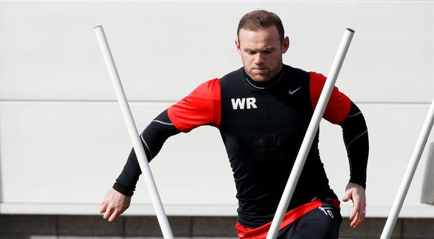 Manchester United's Wayne Rooney during a training session at the AON Training Complex in Manchester this morning