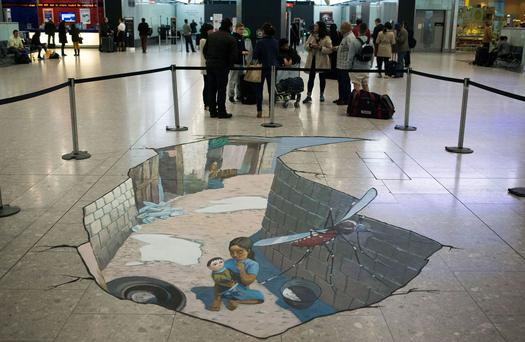 Giant 3d Mosquito Art Greets Passengers At Heathrow