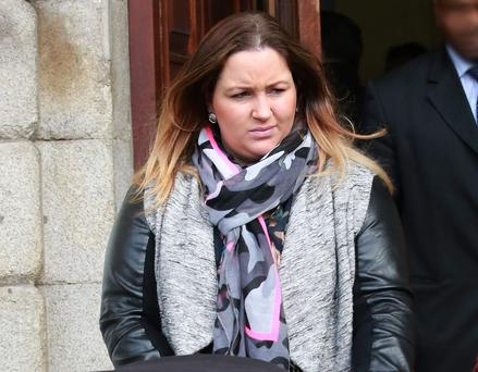 Amy Walsh, of Huband Road, Bluebell, Dublin leaving court yesterday after a settlement offer of €10,000 damages for her daughter, Naoise was approved