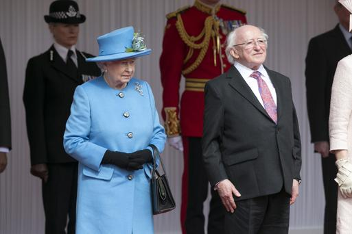 President Michael D Higgins pictured with Queen Elizabeth at their first meeting on Datchet Road in Windsor Photo: Kyran O'Brien