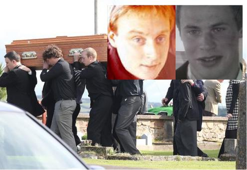 The funeral of 22-year-old Michael Coleman in Dungarvan, who died after taking a lethal ecstasy-based drug. Inset: Victims Michael Coleman and Liam Coffey