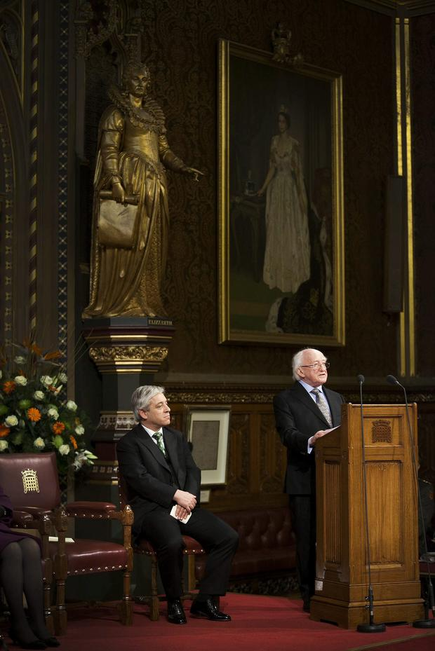 President Michael D Higgins addressed both Houses of Parliament in the Royal Gallery at The Palace of Westminster on the first day of the President's State Visit to the United Kingdom. Picture: Johnny Bambury/ Fennell Photography