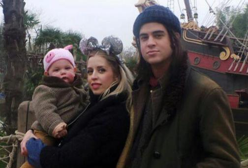Peaches Geldof, husband Thomas Cohen and their baby Astala in Disneyland, Paris. Picture: Twitter/Peaches Geldof