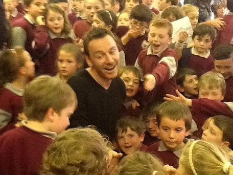 Actor Michael Fassbender visits Fossa School, Co Kerry.