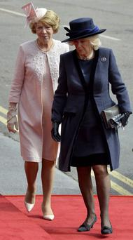 Camilla, Duchess of Cornwall, walks with Sabina Higgins, the wife of the President of Ireland Michael D Higgins, during a ceremonial welcome at Windsor Castle