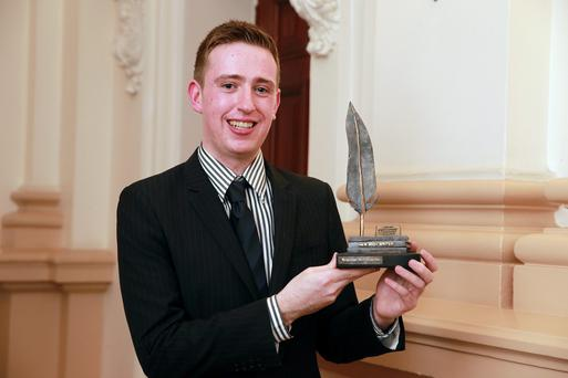 Brendan McLoughlin from Howth, winner of the best new Irish Writer award, at the Hennessy Literary Awards at the Westin Hotel in Dublin. Picture: Arthur Carron