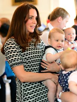 WELLINGTON, NZ - APRIL 09: Catherine, Duchess of Cambridge and Prince George of Cambridge attend Plunkett's Parent's Group at Government House on April 9, 2014 in Wellington, New Zealand. The Duke and Duchess of Cambridge are on a three-week tour of Australia and New Zealand, the first official trip overseas with their son, Prince George of Cambridge. (Photo by James Whatling-Pool/Getty Images)