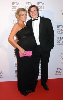 The Irish Film & Television Academy awards 2014 (IFTA) at DoubleTree by Hilton Dublin Hotel, Dublin, Ireland - 05.04.14. Pictures: G. McDonnell / Cathal Burke / VIPIRELAND.COM *** Local Caption *** Peter Coonan, Kim O'Driscoll