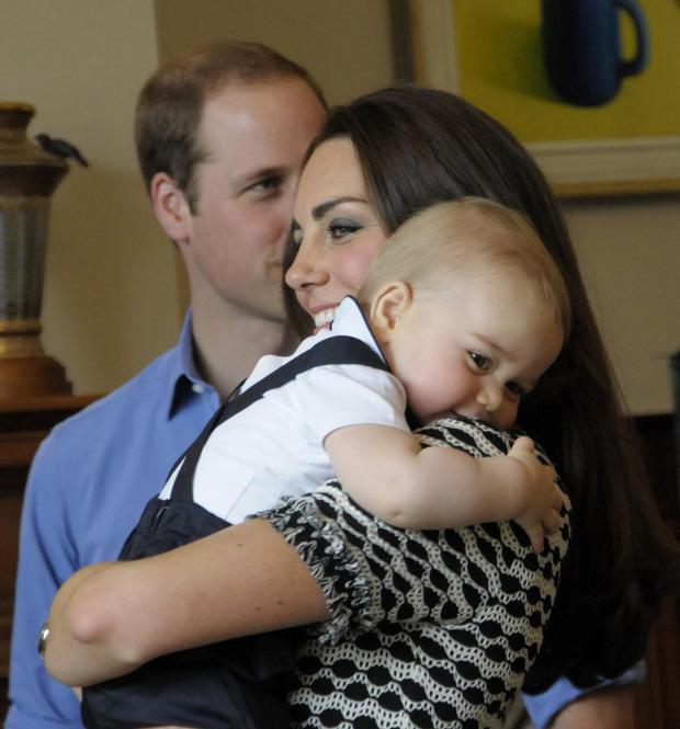 Prince William, Kate and Prince George attend Plunkett's Parent's Group at Government House on April 9, 2014 in Wellington, New Zealand.