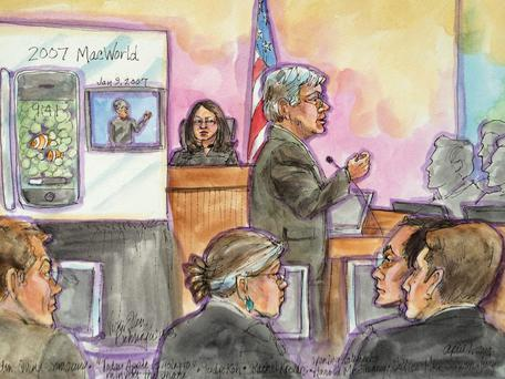 Apple attorney Harold McElhinny delivers opening statement in this courtroom sketch during Apple Inc vs Samsung Electronics Co Ltd case in U.S. District Court, Northern District of California in San Jose, California