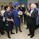 President Michael D Higgins meeting some of the Irish Staff during a visit to University College Hospital London. Photo: Kyran O'Brien