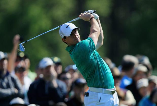 Rory McIlroyhits a shot during a practice round prior to the start of the 2014 Masters Tournament at Augusta