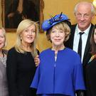 Sabina Higgins today attended a fashion lunch at the Irish Embassy where she met Greta Mulhall, Louise Kennedy Paul Costelloe, and Melissa Curry. Photo by Malcolm McNally