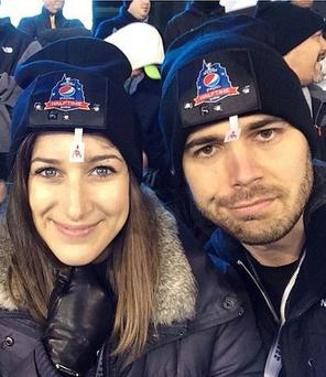 The couple at the Pepsi halftime show. Pic: Instagram/CharlesTrippy