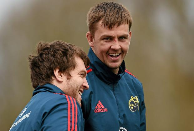 Munster's Dave Foley, right, shares a joke with team-mate Mike Sherry as both sat out training ahead of tomorrow's Pro12 clash against Glasgow Warriors