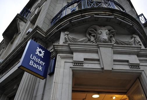 A logo sits on a sign outside an Ulster Bank branch, a unit of the Royal Bank of Scotland Group Plc (RBS), in Dublin, Ireland, on Thursday, Dec. 12, 2013.