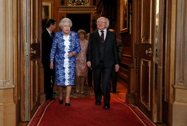 Queen Elizabeth ll and President Michael D Higgins at Windsor Castle