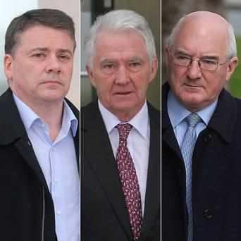 The three accused, from left, Pat Whelan, Sean FitzPatrick and Willie McAteer. Photo: PA