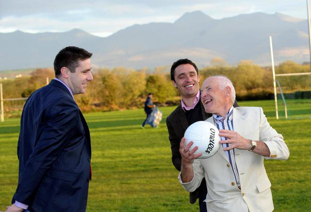 Pictured at the launch of 'Sam to the Summit' which will take place on May 16th 2014 at Keel GAA field in County Kerry on Thursday night were legendary footballers Darragh O'Se, Tom Prendergast and Anthony Kerins. Photo: Don MacMonagle
