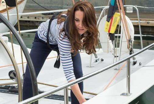 The Duchess of Cambridge on board her yacht