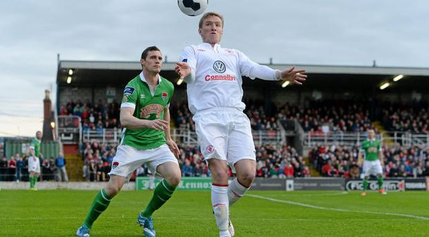 Paul O'Conor of Sligo Rovers in action against Cork City's Darren Murphy in last night's Airtricity League Premier Division game at Turner's Cross