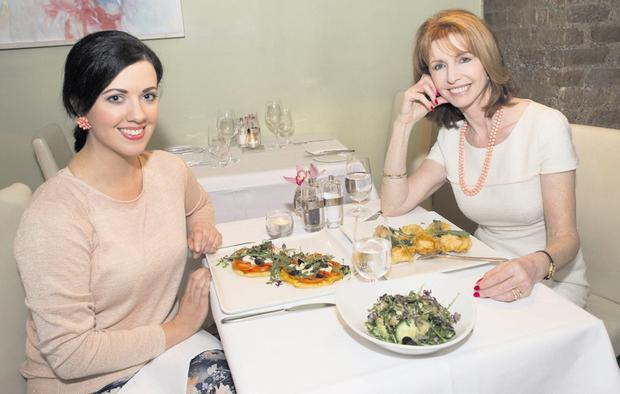 Looking dishy: Deirdre Reynolds and former model and actress Jane Asher at Town Bar & Grill in Dublin