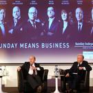 QUESTION TIME: Finance Minister Michael Noonan is interviewed by Richard Curran on stage at the official launch of the expanded Sunday Independent Business section last week at Dublin's Marker Hotel.