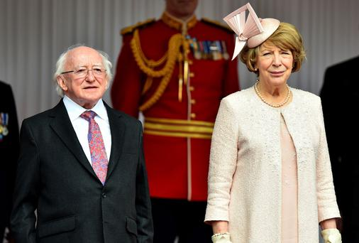 President Michael D Higgins with wife Sabina at Windsor Castle. Photo: PA