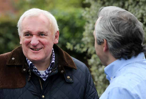Former Taoiseach Bertie Ahern with Ronald Quinlan yesterday. Photo: Gerry Mooney