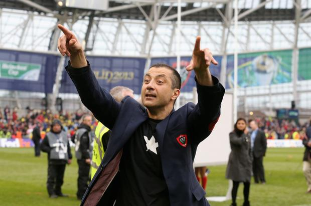DUBLIN, IRELAND - MAY 18: Mourad Boudjellal owner of RC Toulon celebrates their victory during the Heineken Cup final match between ASM Clermont Auvergne and RC Toulon at the Aviva Stadium on May 18, 2013 in Dublin, Ireland. (Photo by David Rogers/Getty Images)