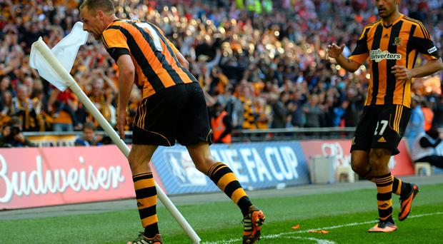 David Meyler celebrates scoring Hull City's fifth goal during the FA Cup semi-final against Sheffield United at Wembley.