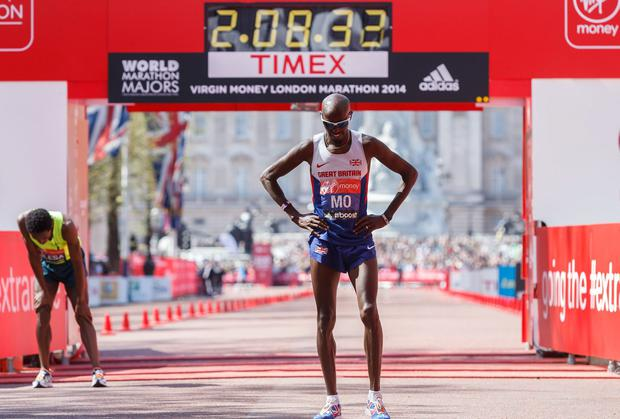 Mo Farah after finishing in eighth place during the London Marathon